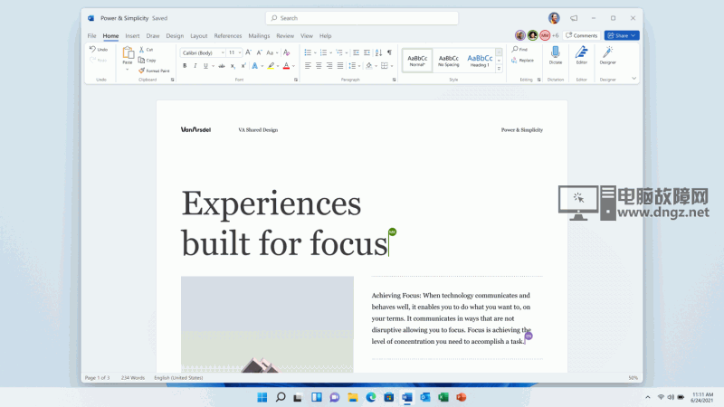 The new visual design of Office on Windows 11.
